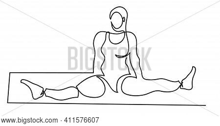 One Line Drawing Of Ballerina In A Bodysuit Sits In A Cross Twine. One Continuous Line Drawing Of Si