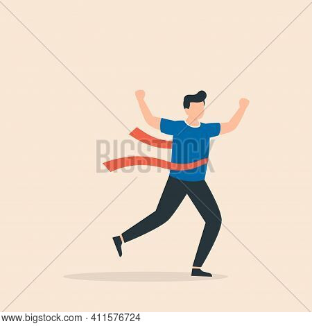 Running Businessman Crosses A Finish Line Red Ribbon, Winning A Race. Concept Of Successful Business