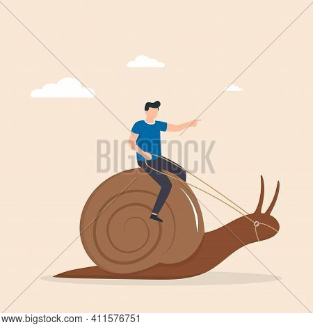 Man, Riding Snail, Giving It Commands. Strategy To Achieve Success Leisurely. Inefficient Management
