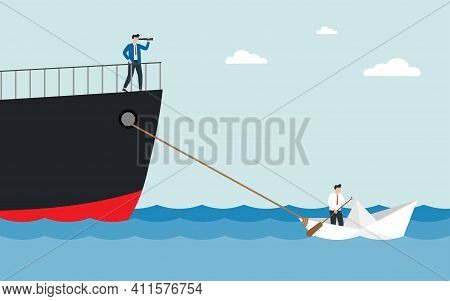 Man In A Business Suit With A Telescope Sails On A Huge Ship. Small Paper Boat Pulling A Huge Ship.