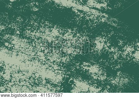 Distress Urban Used Texture. Grunge Rough Dirty Background. Brushed Green Paint Cover. Overlay Aged