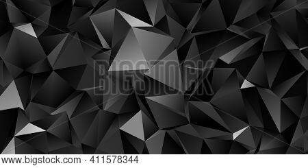 Abstract black triangle background, low poly 3D illustration, dark polygon pattern