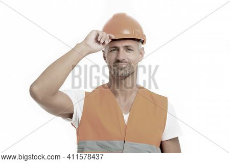 Strong Handsome Builder. Good Job. Safety Is Main Point. Man Builder Wear Protective Hard Hat And Un