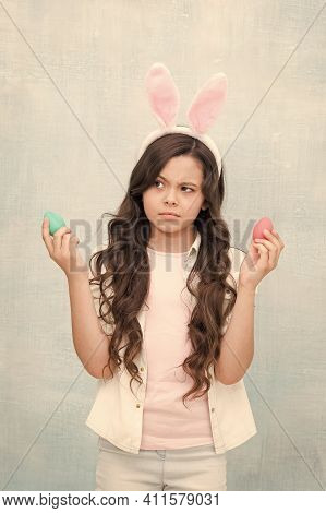 Not Enaugh Eggs. Sad Girl With Rabbit Ears And Eggs. Small Daughter Collect Painted Eggs. Easter Egg