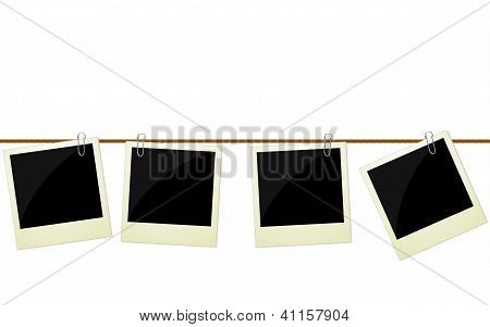 Four photos Hanging On Rope