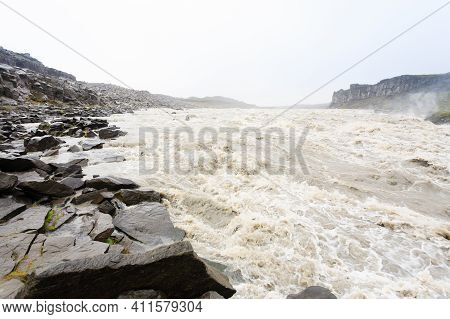 Dettifoss Waterfalls In Summer Season View, Iceland. Icelandic Landscape.