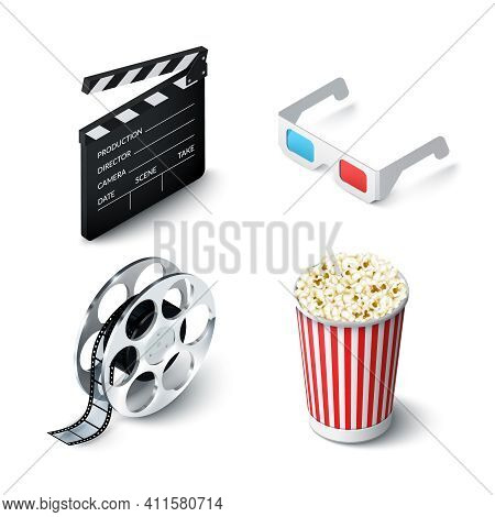 Cinema Realistic Set With 3d Glasses Clapperboard Filmstrip And Popcorn Isolated Vector Illustration