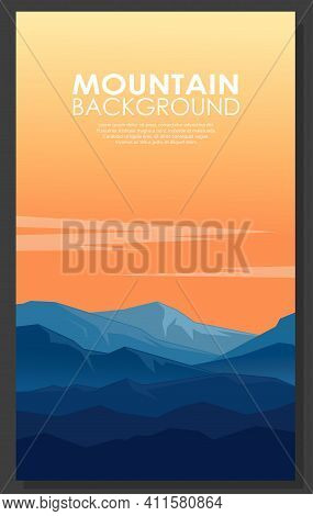 Landscape With Silhouettes Of Blue Mountains. Poster Of High Blue Rocky Mountains With Copy-space.