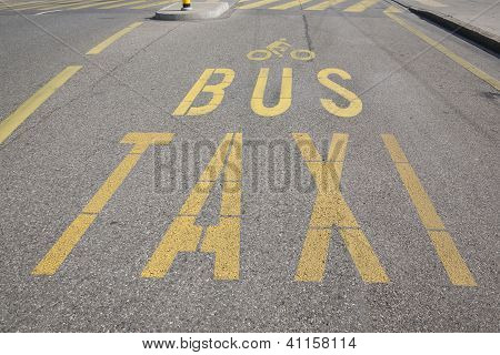 Bus Taxi and Cycling Sign