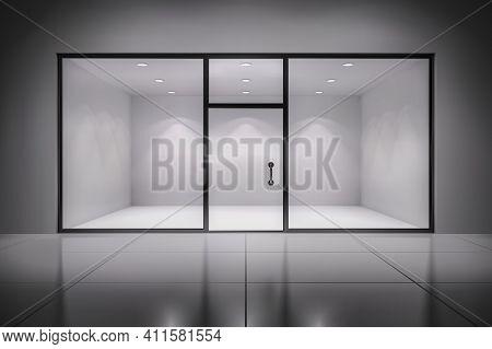Empty Illuminated Store Exposition Interior Realistic Background Vector Illustration