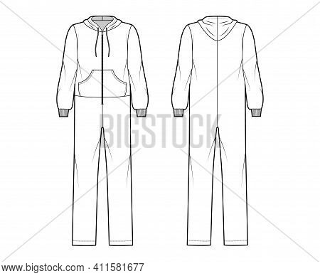 Onesie Overall Jumpsuit Sleepwear Technical Fashion Illustration With Full Length, Oversized, Hood,