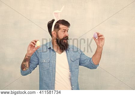 Man In Bunny Ears Holds Egg. Spring Time. Easter Eggs. Happy Easter. Being Prolific. Celebration Of
