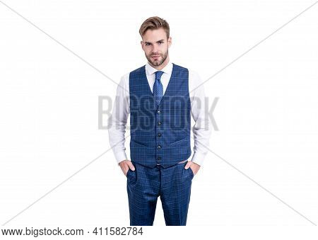 Meet Your Tailored Needs. Ambitious Man Isolated On White. Tailored Garment. Bespoke Tailoring. Mens