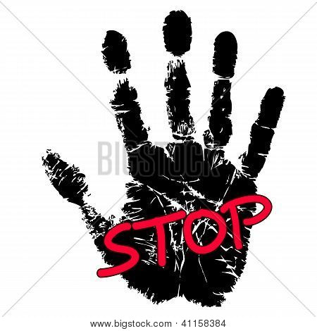 Hand Print With Stop Sign