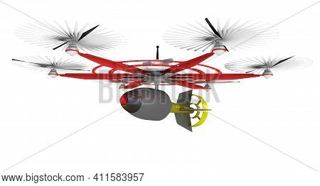 Unmanned Combat Aerial Vehicle (ucav) With Six Propellers And An Air Bomb. 3d Illustration