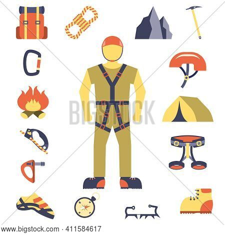 Mountain Peaks Climber Tools And Equipment Flat Icons Composition Poster With Crampon Shoes Compass