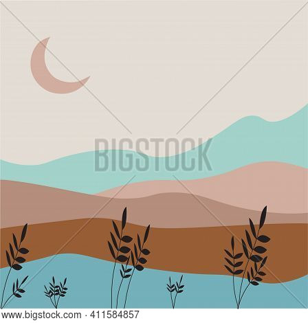 Landscape Vector. Nature Vector Background, Landscape With Mountains And Moon. Panorama Of Mountains