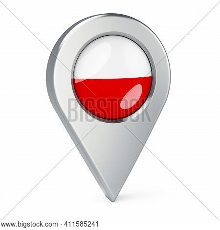 Map Pointer With Flag Of Poland, 3d Rendering Isolated On White Background