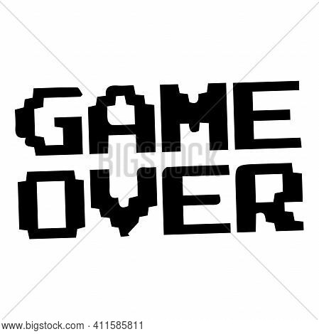 8-bit Pixel Game Over Message. Pixel Art Style Icons, Element Design For Logo, App, Web, Sticker. Vi