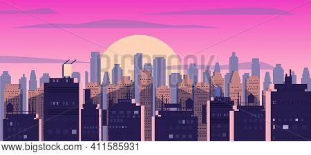 Sunset Or Sunrise City, Skyscrapers Modern Buildings In Dark Urban Scene. Cityscape Dusk Mood. Vecto
