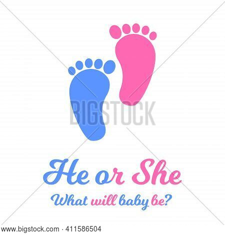 Baby Boy And Girl Footprints, Blue And Pink Colors. Gender Reveal Party Invitation Card Or Banner. H