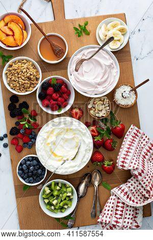 Yogurt Bowl Bar, Big Board With Variety Of Toppings