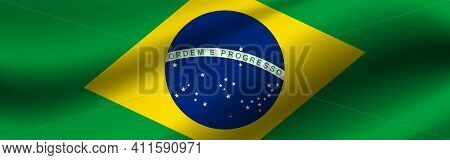 Banner With The Flag Of Brazil. Fabric Texture Of The Flag Of Brazil.