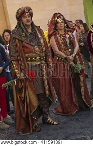 Murcia, Spain,  17 April 2017. Spring Festival In Murcia. Procession On Streets Of The Town.