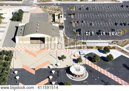 IRVINE, CALIFORNIA - 31 JAN 2020: Aerial View of the Hangar and Carousel at the Orange County Great Park.