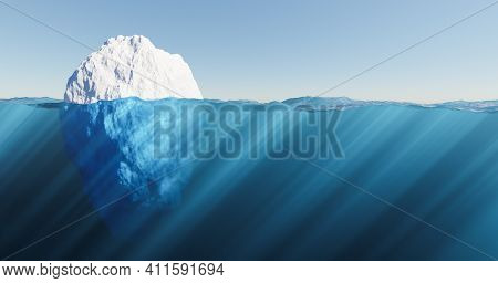 Iceberg Floating In The Sea With Crystal Clear Water And Sun Rays. Global Warming Concept. 3d Render