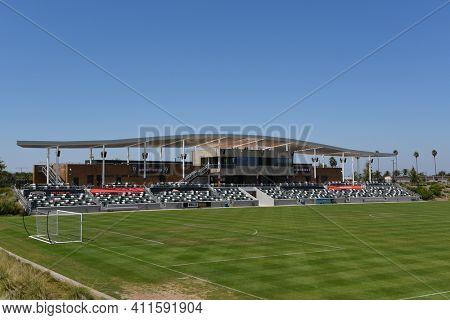 IRVINE, CALIFORNIA - 30 AUG 2020: The Orange County Great Park championship Soccer Stadium.