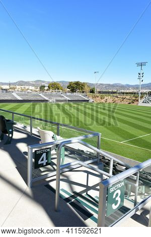 IRVINE, CALIFORNIA - 31 JAN 2020: Aisle and seating detail of the Championship Soccer Stadium at the orange county Great Park.