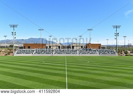 IRVINE, CALIFORNIA - 31 JAN 2020: Visitor side grandstand at the Orange County Great Park Championship Soccer Stadium.