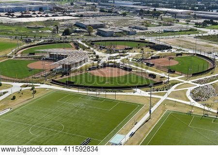 IRVINE, CALIFORNIA - 31 JAN 2020: Aerial view of the Softball Stadium at the Orange County Great Park.