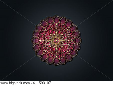 Sacred Geometry Esoteric Flower Of Life, Gold Filigree Mandala Embroidery Jewelry Concept. Seed Of L