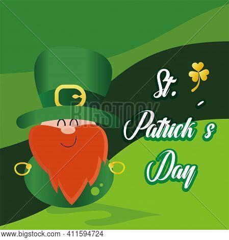 Happy Irish Elf Cartoon. Saint Patricks Day Illustration - Vector