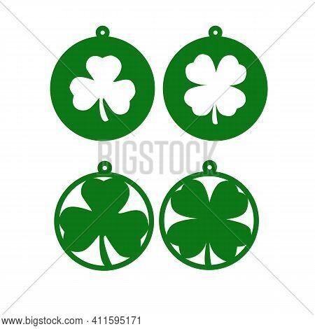 Saint Patrick's Day. Circle Earring Template. Shamrock Earrings Symbol.