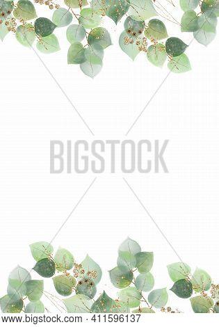 Pale Leaves - Botanical Design Banner. Floral Pastel Watercolor Border Frame.