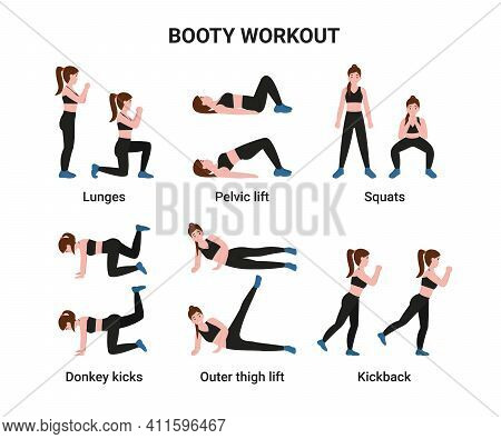 Set Booty Or Glutes Workout Without Equipment. Stay Home And Do Sport. Flat Cartoon Modern Illustrat