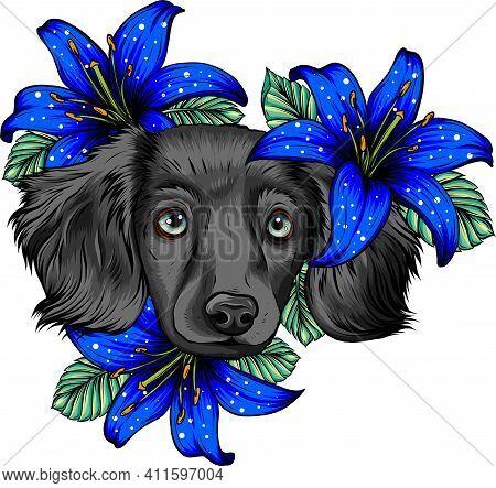 Portrait Of A Spaniel Dog In A Flower Head Wreath. Vector Illustration.