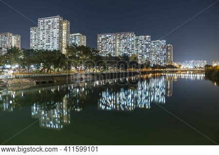 High Rise Residential Building Of Public Estate In Hong Kong City At Night