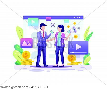 Referral Marketing, Affiliate Marketing, A Business Partnership With Two Business People Agree On Th