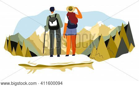 Man And Woman Traveling And Hiking In Mountains