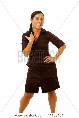 Business Woman Laughing With Hands On Hip And Collar Bone