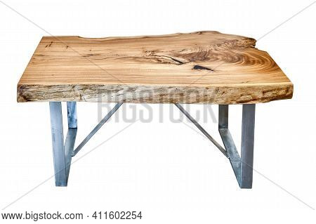 Live Edge Elm Slab Coffee Table With Metal Base On White Background