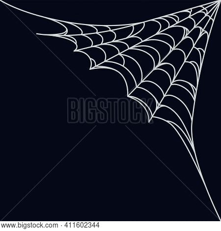 Spider Web Corner For Halloween Designs. Spiderweb Corner Isolated In Dark Background. Outline Vecto