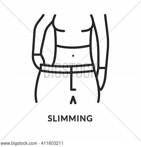 Slimming Flat Line Icon. Vector Illustration Drastic Weight Loss Person. Diabetes Symptom