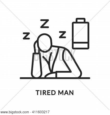 Tired Flat Line Icon. Vector Illustration Of A Tired Man. The Energy Has Run Out. He Wants To Sleep.