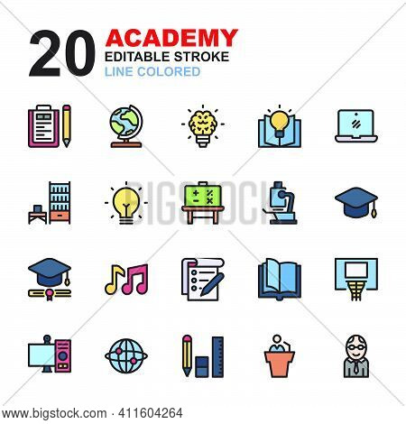 Icon Set Of Academy. Line Color Icons Vector. Contains Such Of Geography, Hat Graduation, Music, Exa