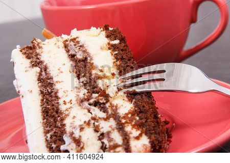 Fresh Creamy Cake For Different Occasions And Cup Of Black Coffee, Concept Of Delicious Dessert